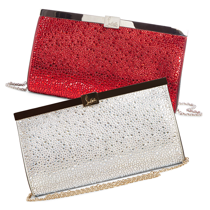 Christian Louboutin Palmette Bags 2020. Christian Louboutin Crystal Embellished Clutch Bags 2020. Designer Mother of the Bride Bags 2020. Winter Wedding Mother of the Bride Outfits 2020. Winter Mother of the Groom Outfits 2020. Luxury Designer Clutch Bags 2020. Best Hand Bags for Mother of the Bride 2020.