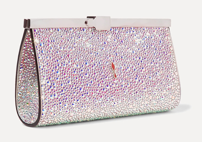 Winter Wedding Guest Outfits 2020, Christian Louboutin Clutch Bags 2020, Christian Louboutin Pink Clutch Bag. Bling Handbags. Winter Mother of the Bride Outfits 2020. Bags for Winter weddings 2020. Bridal Bags 2020.
