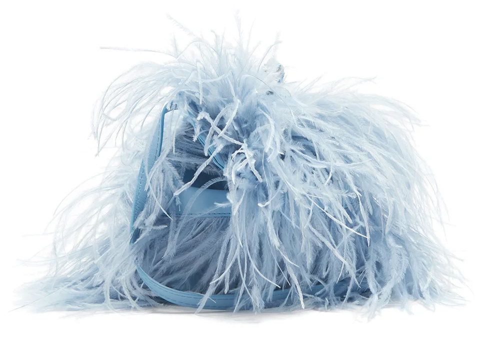 Powder Blue Clutch Bags for Weddings 2021. Wedding Guest Outfits 2021. What to wear to a Spring Wedding 2021. Pale Blue Mother of the Bride Outfits 2021. Powder Blue Mother of the Bride Bags 2021. Feather Embellished Clutch Bags 2021. Feather Embellished Clutch Bag 2021. Designer Clutch Bags 2021.