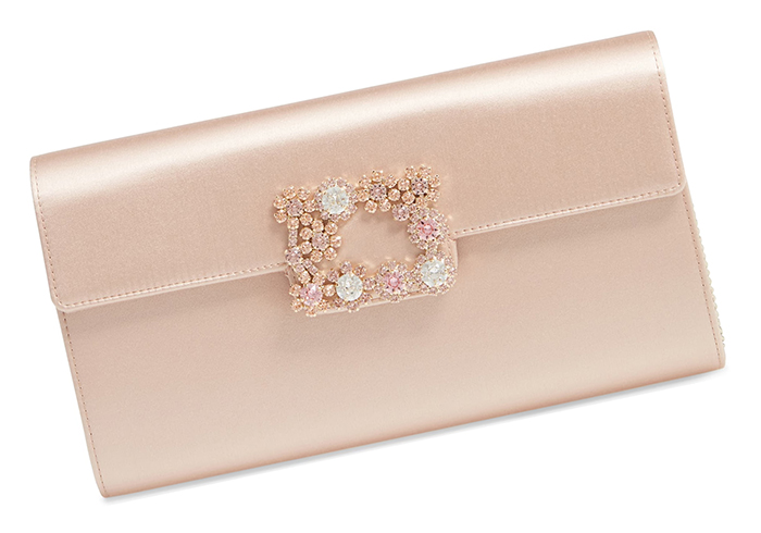 Roger Vivier Satin Clutch Bags 2020. Blush Wedding Guest Outfits 2020. Blush Pink Clutch Bags 2020. Designer Mother of the Bride Outfits 2020. Blush Pink Mother of the Bride Outfits 2020. Best Bags for Mother of the Bride 2020. Designer Handbags for Weddings 2020.