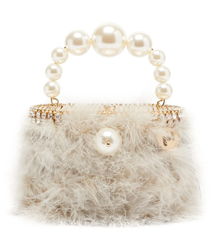 Rosantica Feather Top Handle Bag 2021. Mini Bags for Weddings 2021. Spring Wedding Guest Outfits 2021. What to wear to a Spring Wedding 2021. Mother of the Bride Outfits 2021. Luxury Designer Bags 2021.