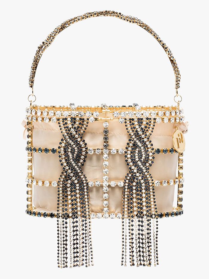 Rosantica Holli Sofia Cage Bag. Rosantica Bags 2020. Gold Mother of the Bride Outfits 2020. Luxury Mother of the Bride Bags 2020. Bags for Summer weddings 2020, Mother of the Bride Outfits 2020, Designer Mother of the Bride Bags 2020. What to wear to a Summer Wedding 2020.