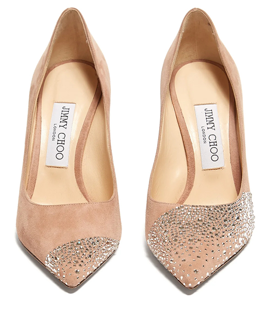Jimmy Choo Suede Shoes. Jimmy Choo Mother of the Bride Shoes. Jimmy Choo Crystal Shoes. Nude Bridesmaids Shoes.