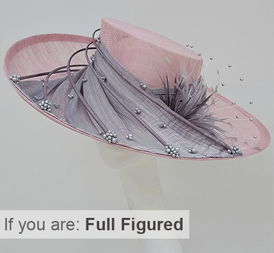 Large Pink and Silver Hat. Upturned Brim Hat. Mother of the Bride Outfits for full figured Mums. Big Kentucky Derby Hats.