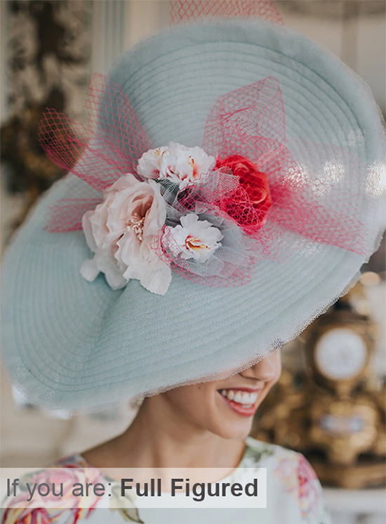 Hats to wear if you are oversize. Mother of the bride hats for Oversize. Find the right hat for your body size. Mother of the Bride hats for oversize Mums. Big Kentucky Derby Hats
