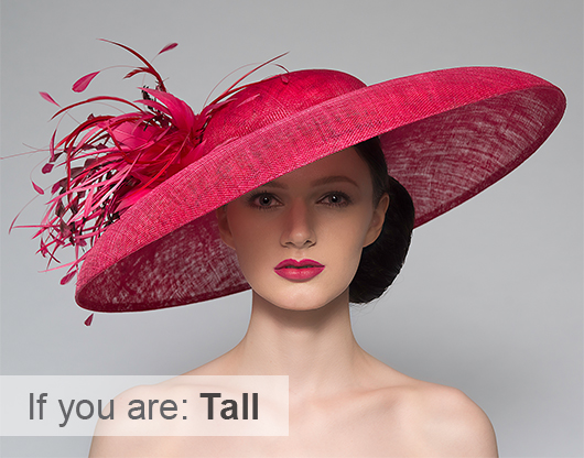 Hat Shapes for Tall People. Wide Brim Hats. Downturned Brim Hat. Big Hat for the Races