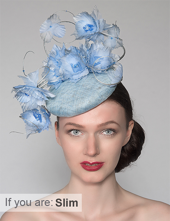 Statement Blue Hat. Floral Hats. Light Blue Fascinator. Hats for the races if you are slim. What to wear for the Kentucky Derby. Royal Ascot Hats.