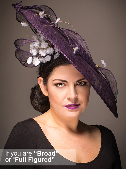 Hats for Broad People. Big Purple Hat. Hats for people with broad shoulders. Mother of the Bride Hats for plus size Mums, Plus Size Mother of the Bride