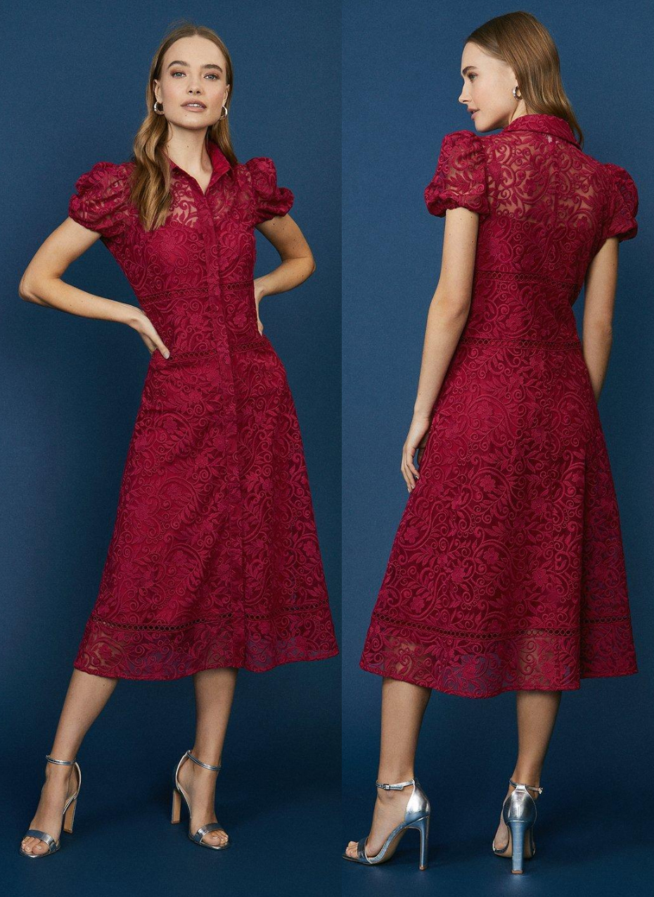 Burgundy Lace Floral Dress 2021. Burgundy Lace Midi Dress 2021. Burgundy Mother of the Bride Dress 2021. Lace Dress for a Spring wedding Guest 2021. Dresses for Royal Ascot 2021. Burgundy Dress for the races 2021. Royal Ascot Outfit ideas 2021.