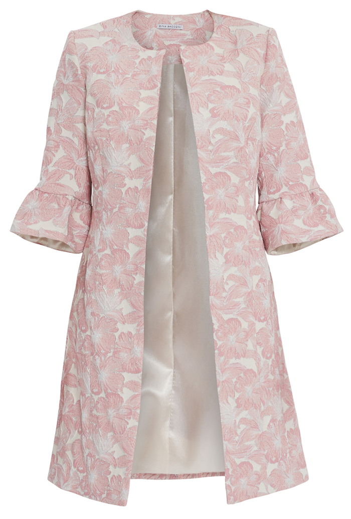 Pink Floral Jacquard Jacket 2021. Gina Bacconi Greta Jacket. Summer Wedding Mother of the Bride Jackets 2021. Summer Wedding Guest Outfits 2021. Wedding Guest Outfits for Mother of the Bride 2021. Spring Wedding Mother of the Bride outfits 2021. Floral Jacket for Summer Wedding Mother of the Bride 2021.