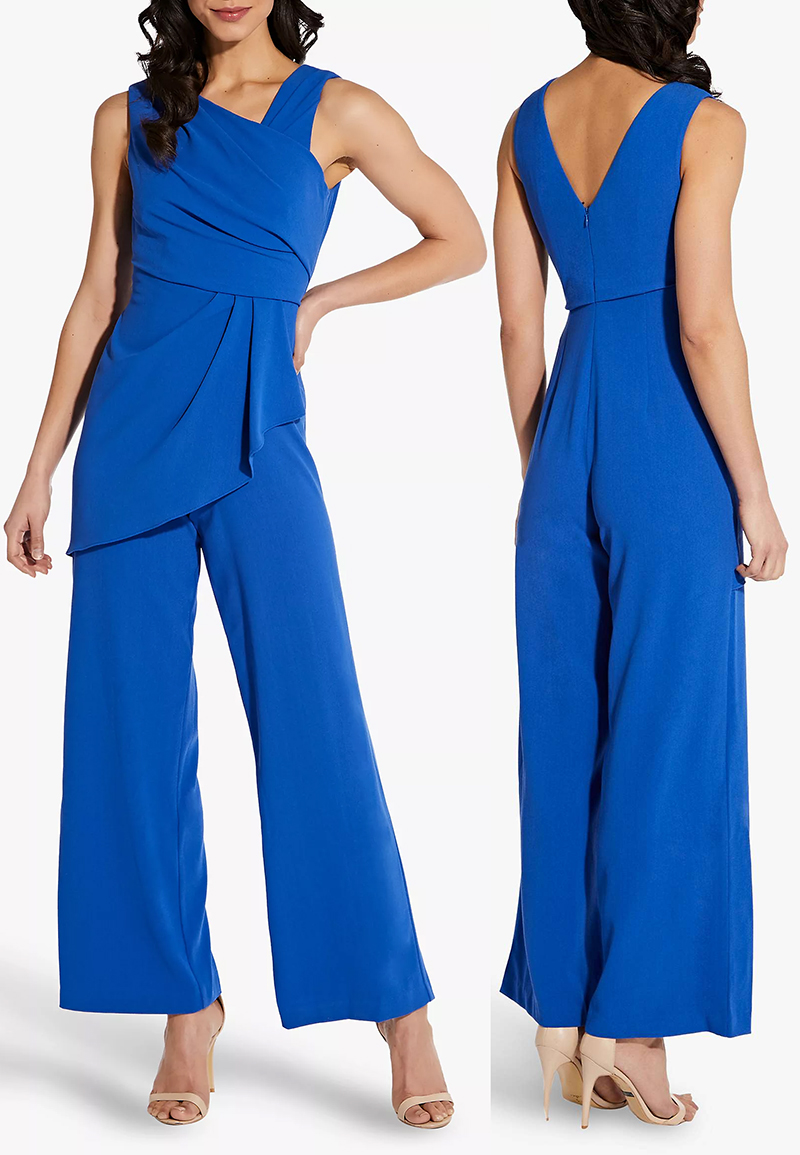 Adrianna Papell Royal Blue Jumpsuit for Spring Wedding 2021. Royal Blue Fashion Summer 2021. Outfits in Royal Blue 2021. Royal Blue Mother of the Bride outfits 2021. Summer Wedding Guest Outfits 2021. Summer Royal Blue Jumpsuit 2021. Royal Blue Jumpsuit for Royal Ascot Races 2021. Royal Blue Jumpsuit for Cheltenham Races 2021. Jumpsuit for Aintree Races 2021.