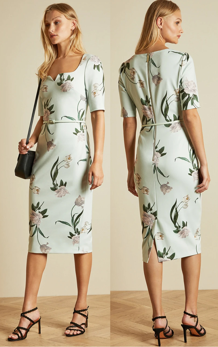 Ted Baker Mint Floral Dress Autumn 2020. Ted Baker Magieyy Dress. Floral Dress for Spring Weddings 2021. Ted Baker Elderflower Dress 2021. Floral outfits for Royal Ascot 2021. What to wear to Royal Ascot 2021. What to wear for Royal Ascot Races 2021. Outfit ideas for Royal Ascot 2021. Floral Dresses for Spring 2021.