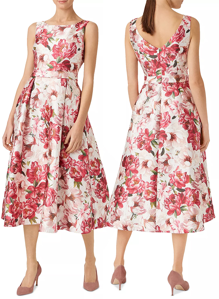 Hobbs Floral Dress 2021. Summer 2021 Floral Dresses. Midi Dress for Summer Wedding Guest 2021. Summer Wedding guest outfits 2021. Outfit ideas for Summer Weddings 2021. Hobbs Midi Dress 2021.