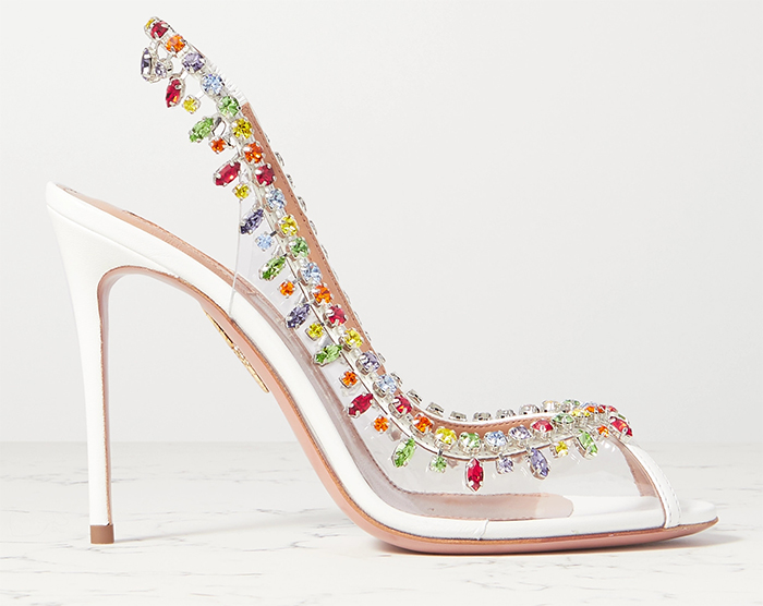 Summer Wedding Guest Outfits 2021. Aquazzura Rainbow Crystal Shoes 2021. Shoes for a Summer wedding guest 2021. Summer Wedding guest outfit ideas 2021. What to wear to a Summer Wedding 2021. Rainbow shoes for Summer 2020. Rainbow Fashion 2020.
