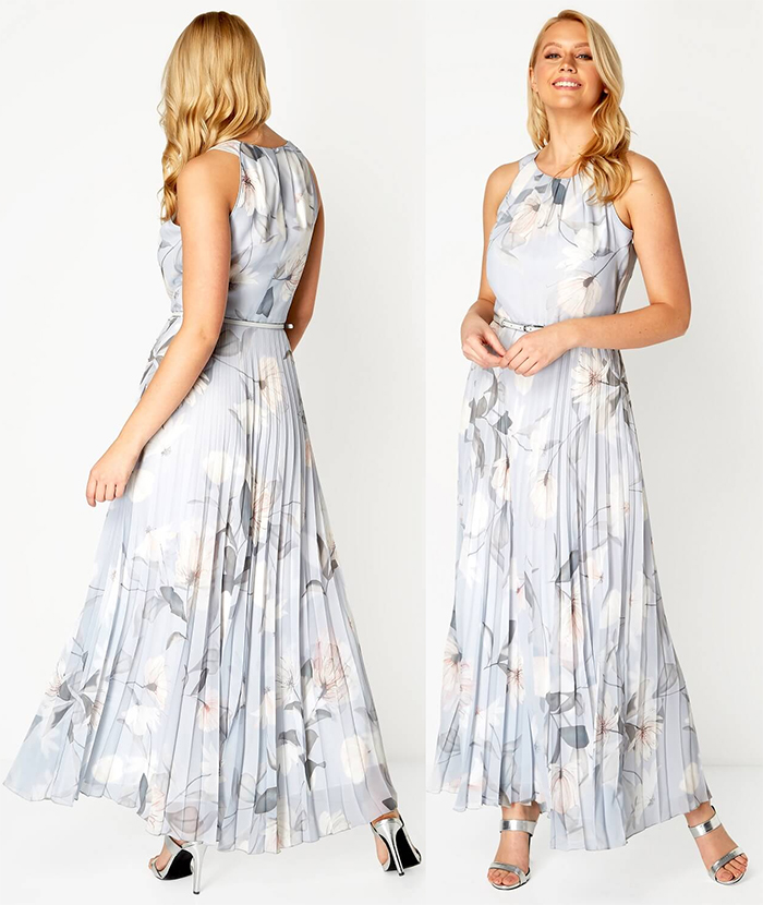 Dresses Spring Summer 2020. Pleated maxi Dress 2020. Floral Maxi Dress 2020. Dress for a Summer Wedding Guest 2020. Dress for Epsom races 2020. Summer Wedding guest outfit ideas 2020. What to wear to a Summer Wedding 2020. Floral dress for Summer wedding Guest 2020.