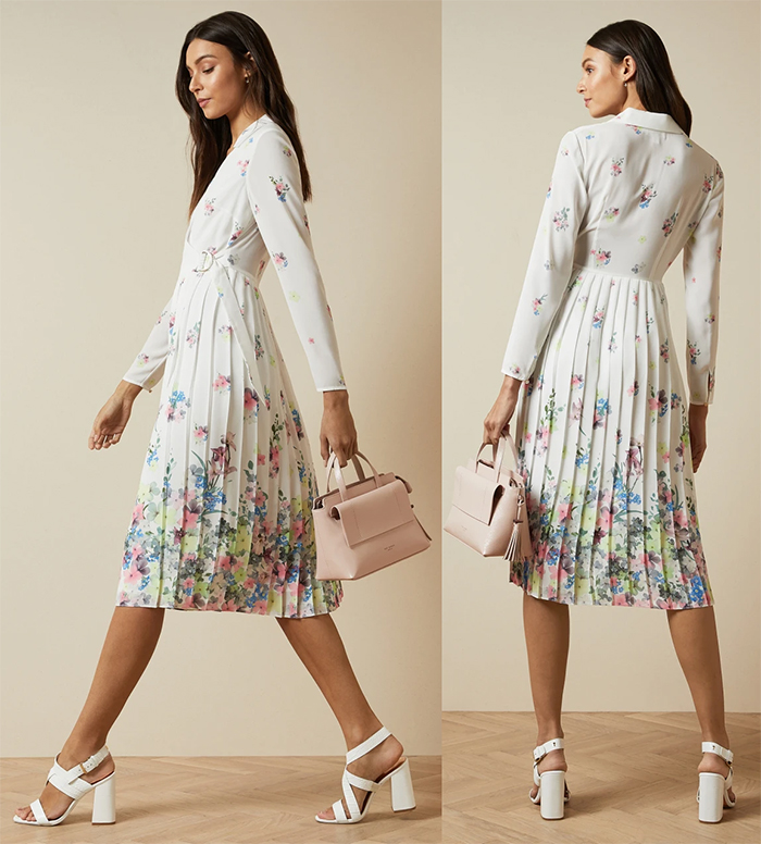 Floral Spring Summer 2021 Dresses, Ted Baker Summer Dresses 2021, Dress for a Summer wedding guest 2021. Summer Wedding guest outfit ideas 2021. What to wear to a Summer Wedding 2021. Floral Mother of the Bride Dress 2021.