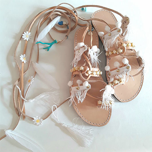Gladiator Sandals with Tassels. Boho sandals for Beach Wedding. Shoes for the Beach. Fashionable shoes for Summer Holiday. Leather Gladiator Sandals. Summer Holiday Wardrobe. Destination wedding outfit ideas.