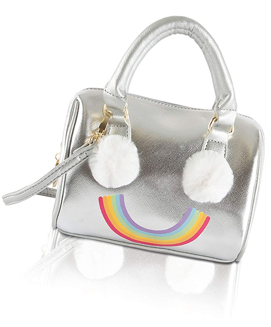 Betsey Johnson Silver Bag with Rainbow and Pom Poms. Pom Pom Bag Charms. Silver Hand Bags. Silver Bags, Funny Bags. Pom Pom Beach Bags.