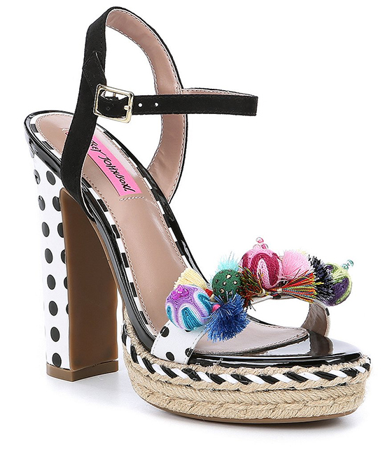 Betsey Johnson Pom Pom and Tassel Shoes. Fun Summer Shoes. Summer Holiday Fashion. Summer Holiday putfit Outfit ideas. Platform Shoes for under $80.00. Pink Outfit ideas. Womens Summer Shoes.