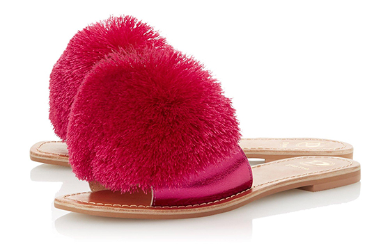 Dune Pom Pom Shoes. Summer Pom Pom Sliders. Summer Holiday Outfit ideas. Shoes for Summer Holidays.