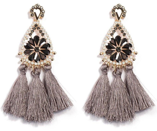 Silver Grey Tassel Earrings. Tassel Earrings for Christmas Party. Mother of the Bride Outfits. What to wear with a Silver Dress. Tassel Dangle Earrings. Winter Wedding Guest outfits. Earrings for Winter Wedding.