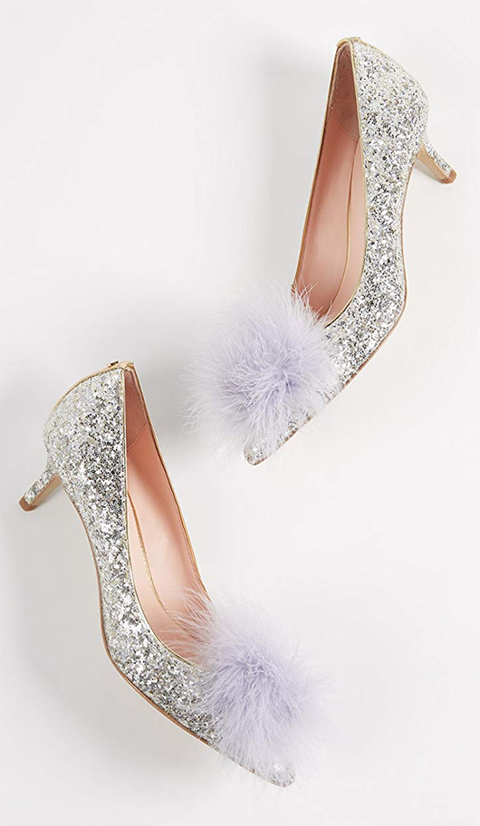 Kate Spade Shoes. Kate Spade Silver Glitter Shoes. Mother of the Bride Outfit ideas. Shoes for Winter Weddings. Fur Pom Pom Shoes for Winter Weddings.