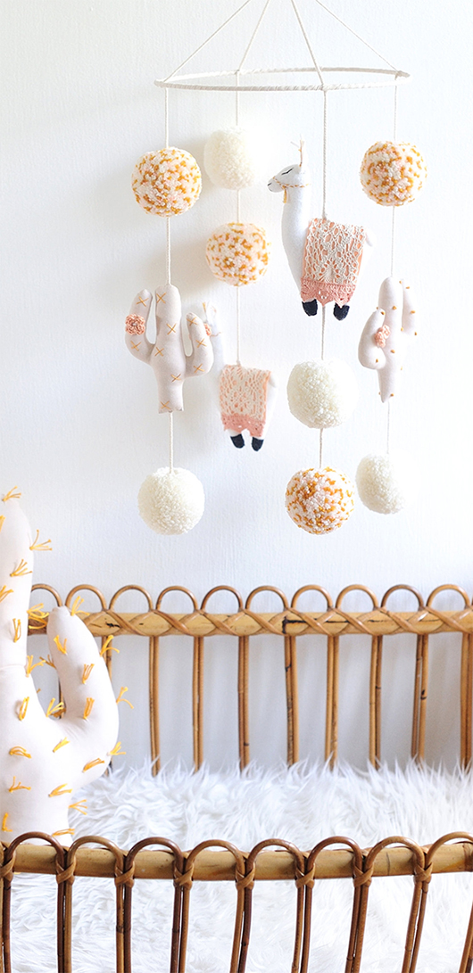 Llama and Cactus Mobile. Mobiles for Baby Nursery. Pom Pom Mobiles. Gifts for new borns. Babies first Christmas. Gifs for New parents. Nursery Decor ideas.