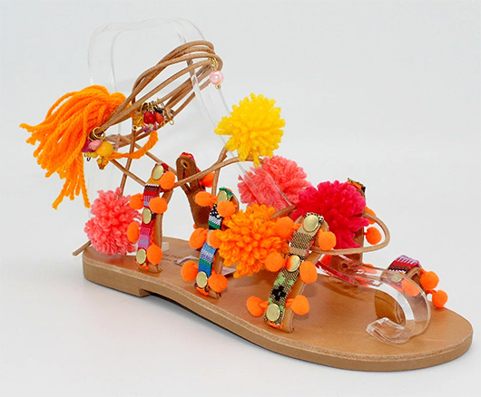 Pop Pom Gladiator Sandals. Handmade Boho Sandals. Shoes for the Beach. Fashionable shoes for Summer Holiday. Tassel Beach Shoes. Summer Holiday Wardrobe. Sumnmer Holiday outfit ideas.
