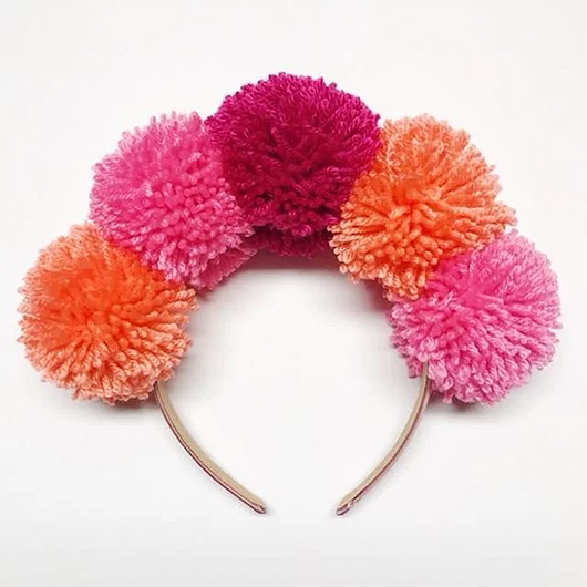 Hen Party Pom Pom Headband. Easter Pom Pom Headbands. Pom Pom Accessories. Gifts with Pom Poms. Hen party outfits. Hen Party ideas.
