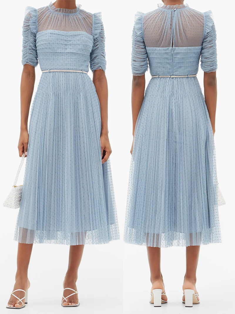 Dress to wear for a Summer Wedding 2021. Pale Blue Self Portrait Dress for a Spring Wedding 2021. What to wear to a Spring Wedding 2021. Pale Blue outfit ideas 2021. Pale Blue Fashion outfit ideas 2021. Womens Summer wedding guest outfits 2021. Pale Blue Dress for Royal Ascot 2021. Summer Wedding Fashion ideas 2020.
