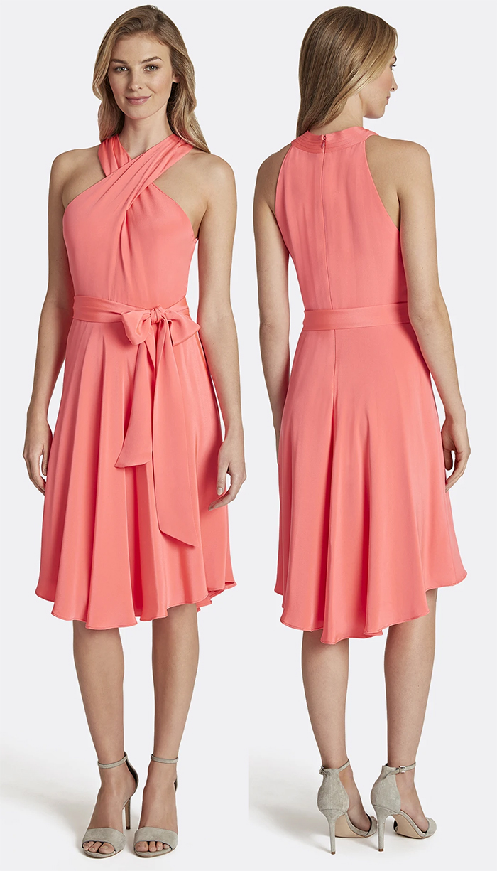 Coral Peach Dress 2020. Outfits for the Kentucky Derby 2021. What to wear for the Kentucky Derby 2021. Coral Dress for a wedding guest 2021. Summer 2021 Fashion Colours. How to Wear Coral. What to wear with Coral 2021. Coral outfit ideas 2021. Coral outfit inspiration 2021.