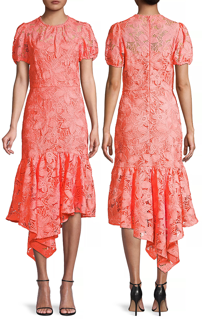 Lace Coral Dress 2020. How to wear Coral 2020. What to wear with a Coral Dress 2021. What to wear to a Spring wedding 2021. Shoshanna Coral Lace Dress 2021. Autumn Wedding outfit ideas 2021. Mother of the Bride Outfits 2021. Coral Mother of the Bride Dress 2021. Coral Outfit ideas 2020. Summer 2020 Fashion Colours. How to Wear Pantone Living Coral. Coral outfits