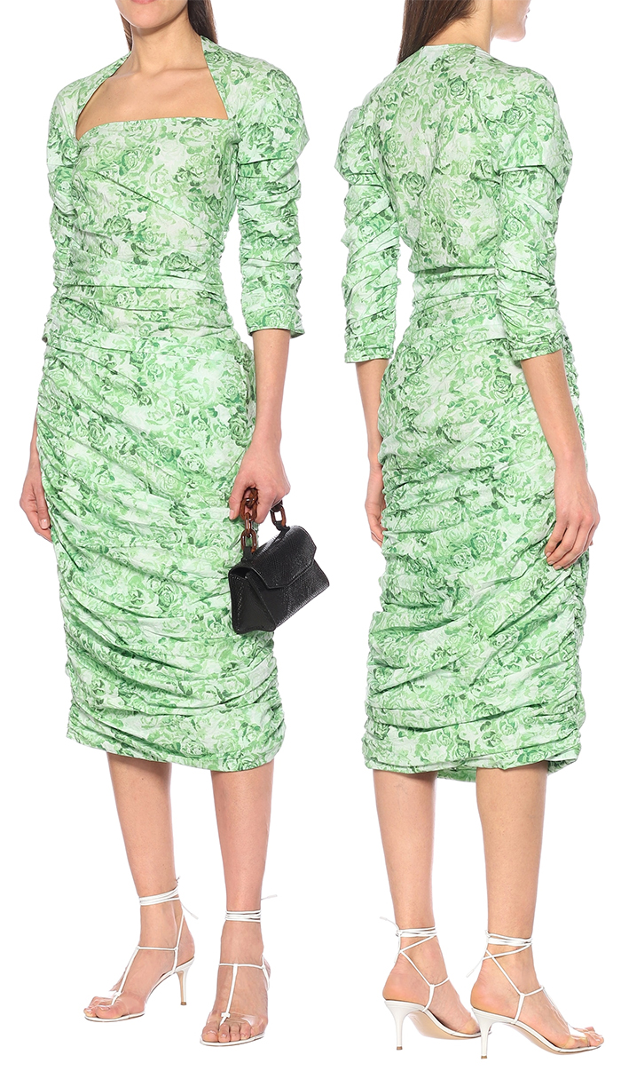 Green Floral Dress for the Kentucky Derby 2020. Dresses suitable for kentucky Derby in September 2020. What Dresses to wear for an Autumn Wedding 2020. Green Floral Dress 2020. Midi length dress for Kentucky derby 2020. What to wear for a Late Summer Wedding 2020.