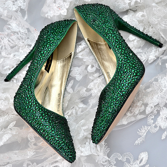Green High Heel Shoes. Green Crystal Shoes. What shoes to wear with a Green Dress. Swarovski Crystal Shoes