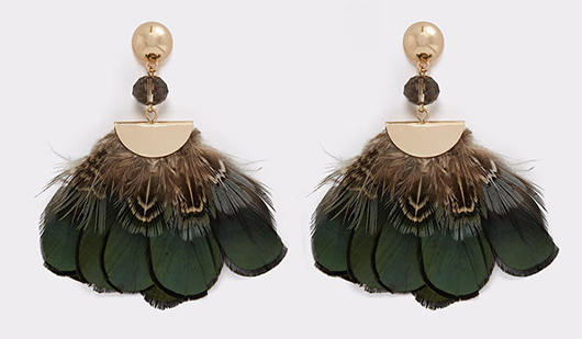 Green Tassel Earrings, Peacock Feather accessories, What to wear with a green dress. Pheasant feather earrings. Winter fashion accessories. What to wear to a winter wedding.