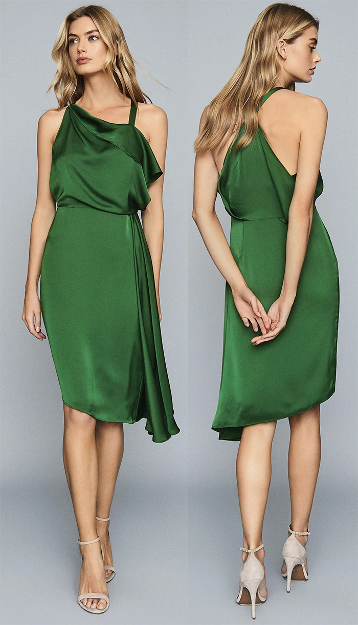 Reiss Aya Dress in green.  Reiss green Dress 2020. Green Dress for spring Wedding Guest 2020. What to wear with a Green Dress 2020. Green Fashion Outfits. Spring Wedding Guest Outfits 2020. What to wear to a Spring Wedding 2020.