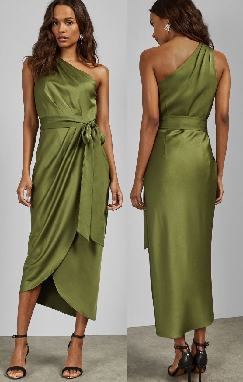 Olive Green Wrap Dress. What to wear with Green. Olive Green outfit ideas 2020. Green Outfits. Ideas for Spring Wedding Guest outfits 2020. Spring Summer Fashion ideas 2020.