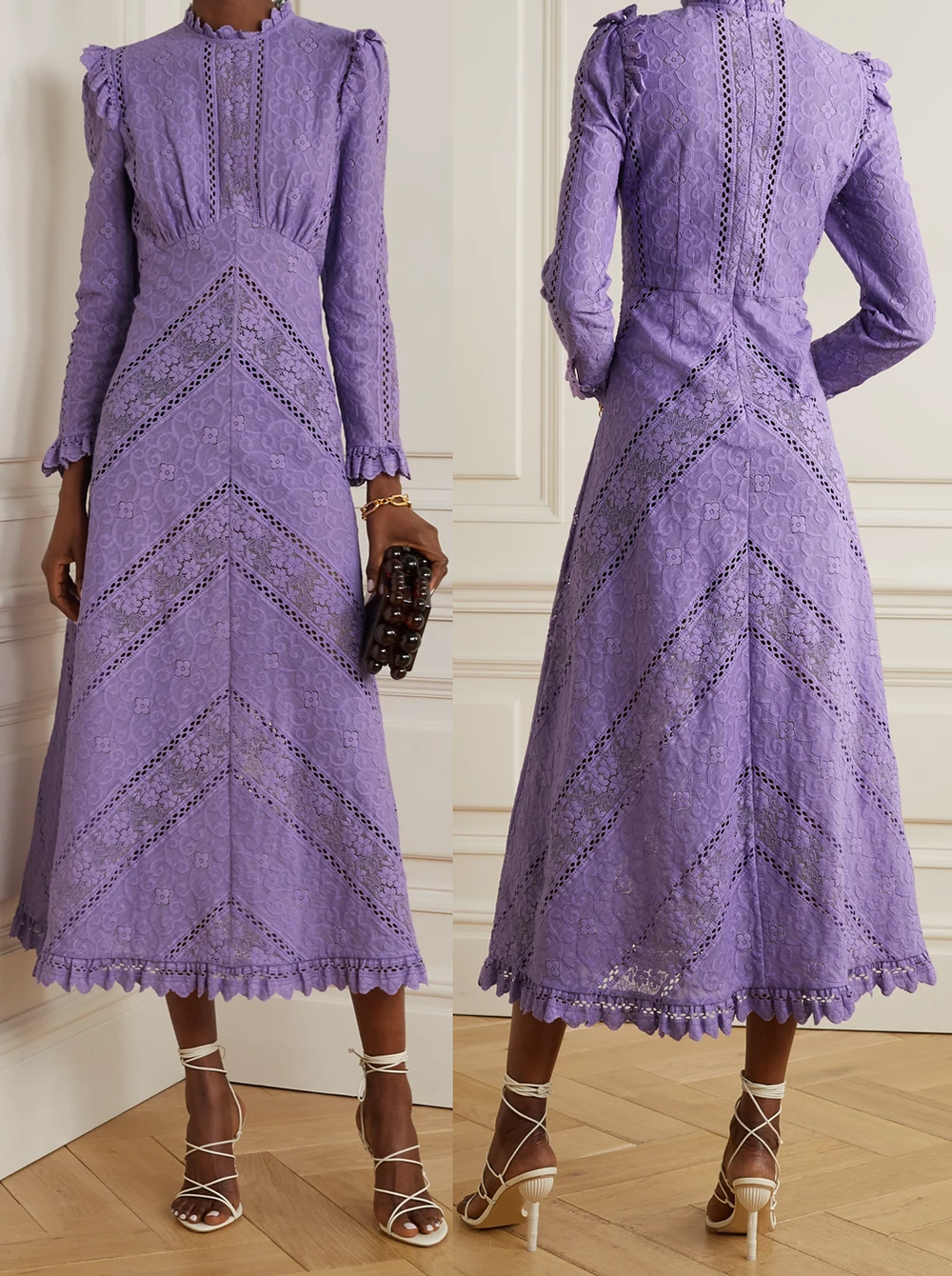 Zimmermann Dresses 2021. Lilac Dress for Royal Ascot 2021. Lace Zimmermann Dress 2021. Lilac Lace Midi Dress 2021. Lilac Dress for Wedding Guest 2021. Lilac Mother of the Bride Dress 2021. Mother of the Groom outfits 2021.