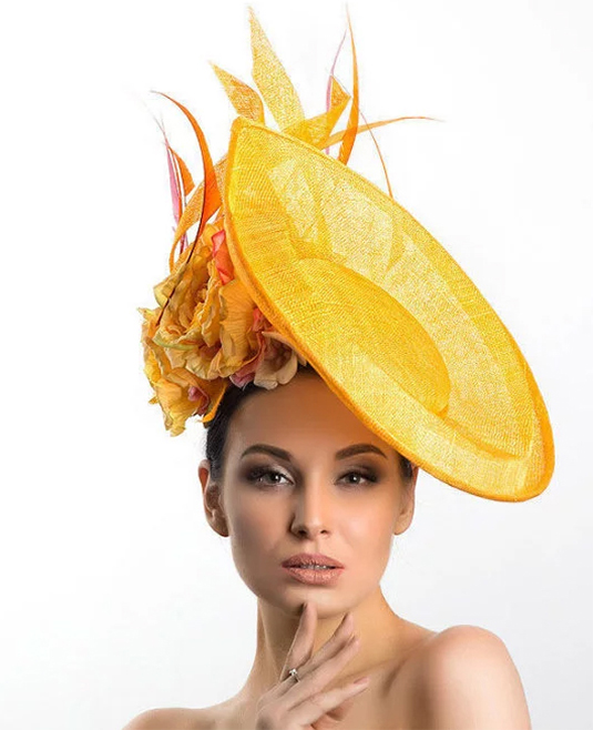 Yellow Hats. Yellow Outfit ideas 2020. Yellow hat for the Races. Yellow Mother of the Bride Hat 2020. Yellow Outfit inspiration 2020