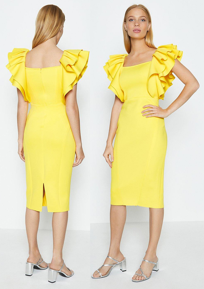Yellow Dress for Royal Ascot Races 2021. Illuminating Yellow Dress 2021. Illuminating Yellow Fitted Dress 2021. Outfits in Yellow for 2021. Outfit ideas in Illumninating Yellow 2021. How to wear Pantone Color of the Year Ultimate Grey and Illuminating Yellow 2021. Outfit ideas in Pantone Illuminating Yellow 2021. Fashion with Pantone Ultimate Gray and Illuminating Yellow. Illuminating Yellow Dress for Royal Ascot 2021. How to wear Illuminating Yellow 2021.