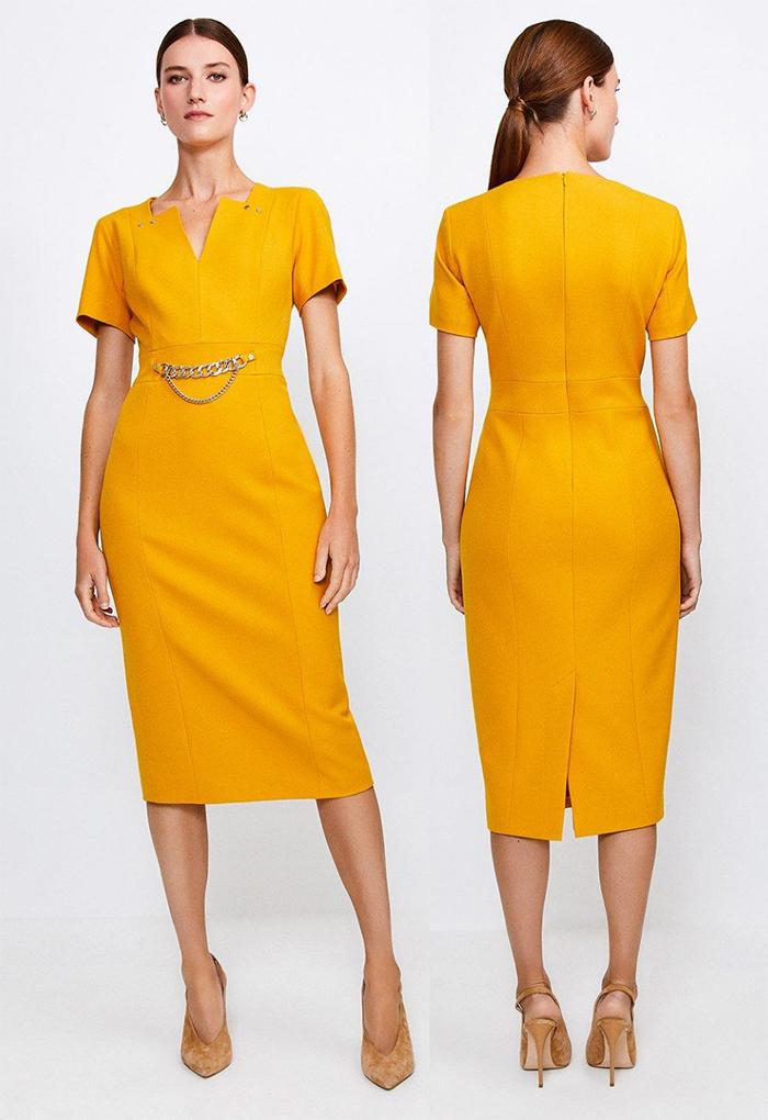 Ochre Yellow Dress. Karen Millen Yellow Dress. Karen Millen Fitted Dress. Karen Millen Yellow Shift Dress. How to wear a Yellow Dress. Royal Ascot outfit ideas 2021. What to wear for Royal Ascot 2021.