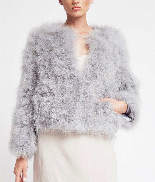 Grey Marabou Feather Jacket. Handmade Feather Jacket for Winter Wedding outfits 2020. Winter Wedding Mother of the Bride Shrugs 2020. Winter Mother of the Bride Jackets 2020. What to wear for a Winter Wedding. Winter Wedding Bridesmaids Outfits 2020.