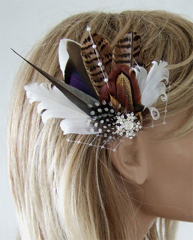 Pheasant Feather Fascinator. Bridal Fascinators for Winter Weddings. Winter Wedding Accessories. Winter Fashion. Feather accessories. What to wear to a Winter Wedding. Winter Mother of the Bride Outfits