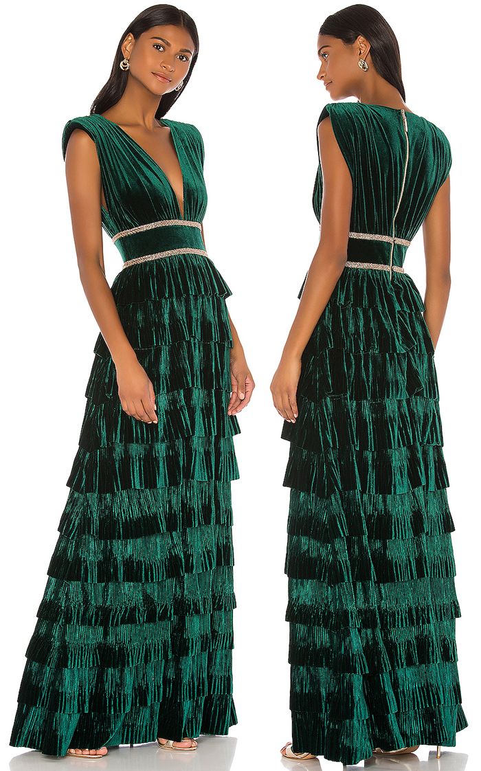 Pleated Velvet Bridesmaids Dress. Bronx and Banco Dress.  Winter Bridesmaids Dresses. Winter Wedding Ideas 2019. Green Bridesmaids Dress. Winter Wedding Colours. Christmas Wedding Bridesmaids Outfits. Long Velvet Evening Dresses