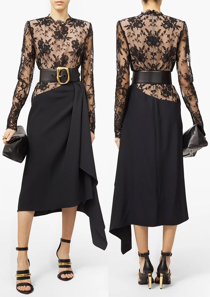 Alexander McQueen Black Lace Dress 2020. Winter Wedding Guest Outfits 2020. Lace Dress for Winter wedding Guest 2020. Winter Mother of the Bride Outfits 2020. Fashionable Dress for Winter Wedding Guest 2020. Winter Wedding Guest outfit ideas. Autumn Winter Fashion outfits 2020.