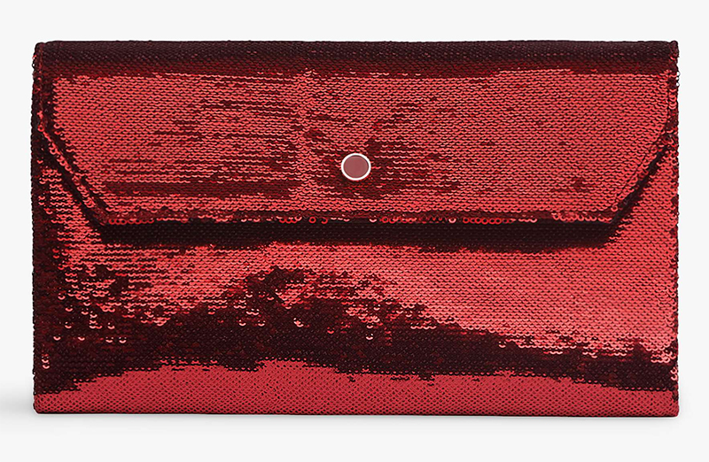LK Bennett Clutch Bag. Red Sequin Clutch Bag. Clutch Bag for Winter Weddings 2020. Bags for a winter Wedding Guest. Winter Wedding Mother of the Bride Clutch Bag 2020.