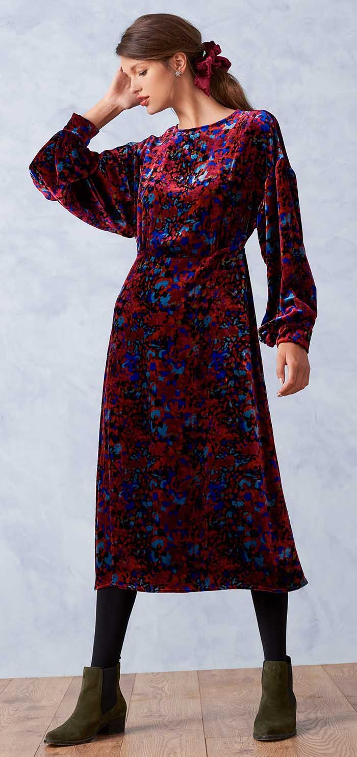 Brora Silk Velvet Dress 2021. Velvet Dress for Winter Wedding Guest 2021. What to wear to a winter wedding 2021. Brora Dresses 2021. Winter Wedding Guest outfit ideas 2021. What to wear for a February Wedding UK 2021. Fashionable Dress for a Winter Wedding Guest 2021. What to wear to a wedding in February. Patterned Velvet Dress 2021.