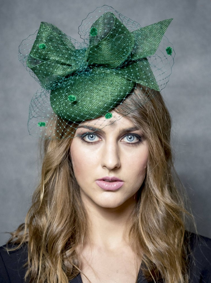 Dark Green Fascinator. Hats for a Winter Wedding. Green Fascinators. Autumn Winter Fashion, What to wear to a winter wedding. What to wear for a Christmas wedding. Winter Wedding Guest Outfits