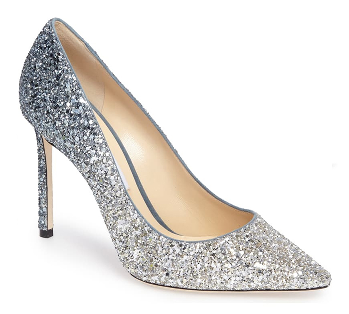Jimmy Choo Romy Glittered Pumps. What to wear for a winter wedding, outfits for Winter Mother of the Bride. Winter Wedding Guest Outfits 2020. Mother of the Groom outfits 2020. What to wear to a Christmas wedding 2020. Bridal Shoes 2020. Fashion Ideas and Inspiration