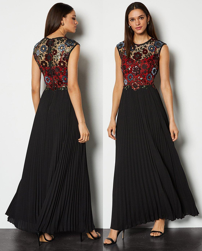 Karen Millen Maxi Dress 2020. Pleated Maxi Dress for a Winter Wedding 2020. Winter Maxi Dresses 2020. What to wear for a winter wedding 2020. Winter Wedding Guest Outfits 2020. Winter Fashion 2020. Lace Maxi Dresses 2020. Winter Wedding Guest Outfit ideas 2020